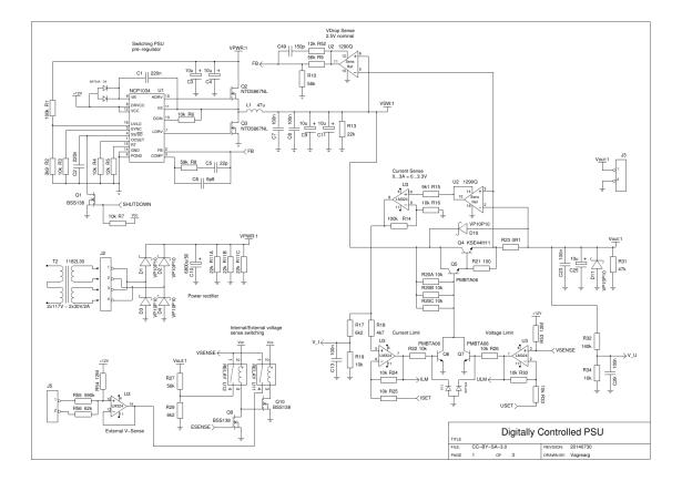 Digitally Controlled Bench PSU schematic