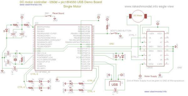 DC Motor Controller using PIC18F4550 Schemetic