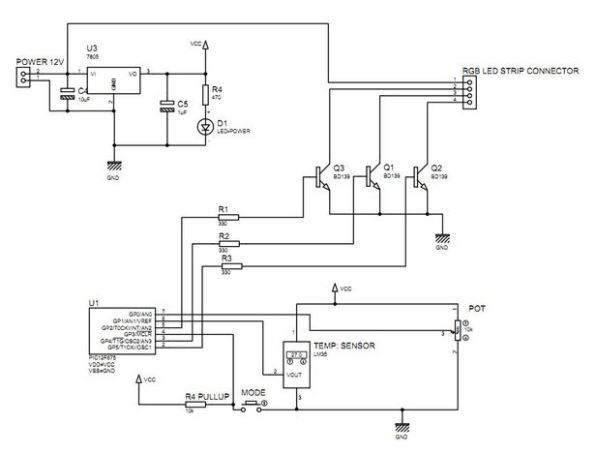 Multifunction RGB LED controller using PIC12F675