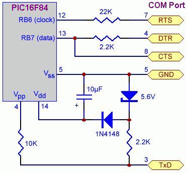 Simple JDM PIC Programmer Diagram