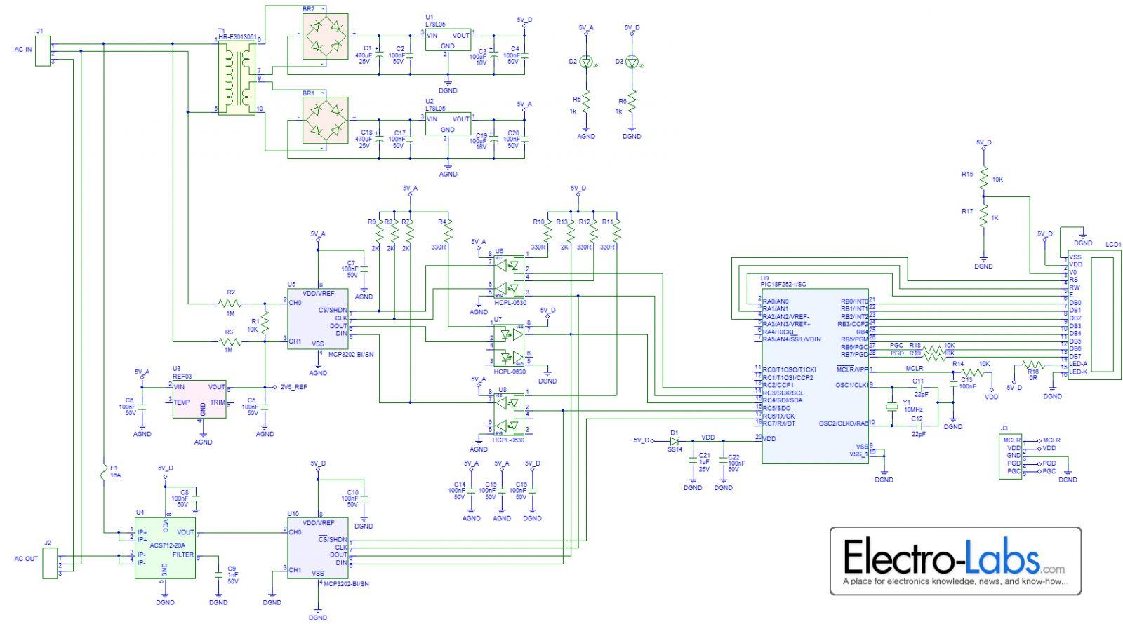 Dc Wattmeter Circuit Diagram Library Of Wiring Ac Converter Diy Digital Watt Meter Rh Pic Microcontroller Com Motor Control