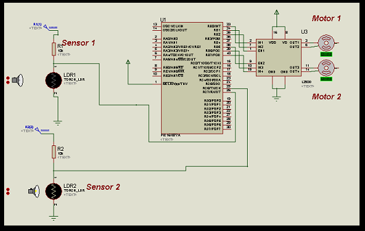 LDR Based Line follower Robot Car using PIC Microcontroller schematic
