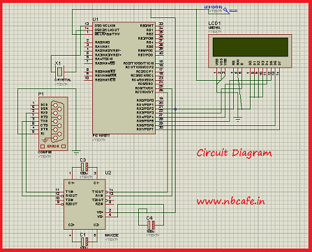 Serial communication with Pic 16f877 using UART schematic