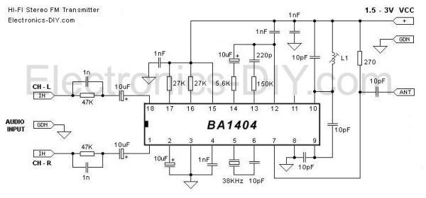 BA1404 HI-FI Stereo FM Transmitter 88 - 108 MHz