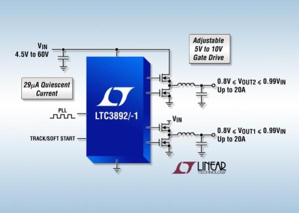 LTC3892 LTC3892-1 - 60V Low IQ, Dual, 2-Phase Synchronous Step-Down DC DC Controller
