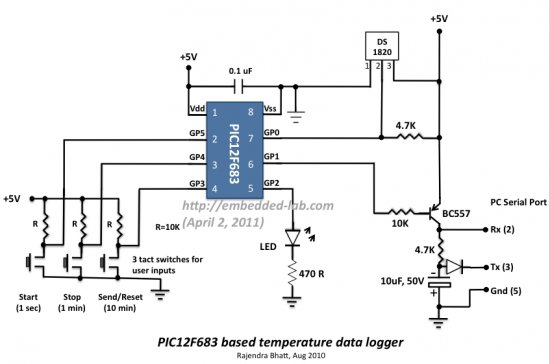 A Beginner's data logger project using PIC12F683 microcontroller Schematic