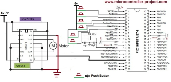 DC motor and Fan speed control using pic 16f877 Microcontroller Schematic