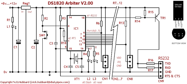 DS1820 Arbiter V2.00 Schematic  Parts List