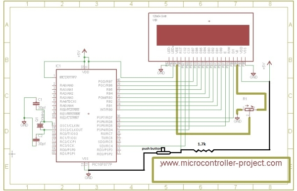 Displaying Images on Graphical Lcd(JHD12864E) using Pic16f877 Microcontroller Schematic