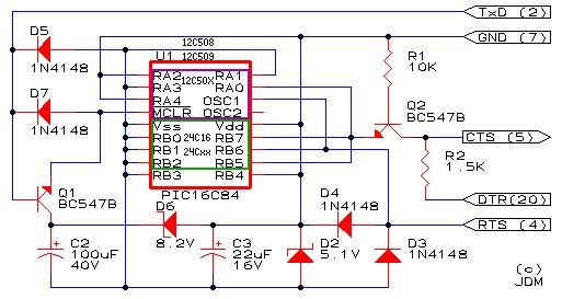Easy 16F84 Microcontroller Programmer - JDM Schemtiac