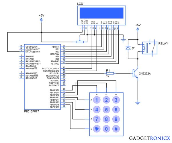 Electronic Code locking system using PIC 16F877 Mircocontroller schematic