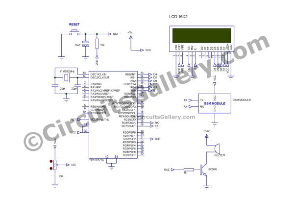 GSM Based Digital Wireless Notice Board Using PIC16F877A Microcontroller Schematic