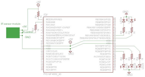 Infrared IR Sensor Interface with PIC18F4550 Microcontroller Schematic