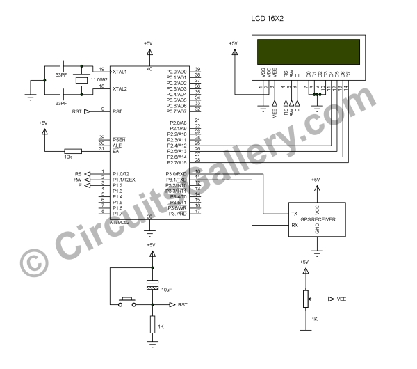 Interfacing GPS Receiver with 8051 Microcontroller -AT89C52 Schematic