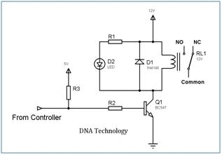 Interfacing Relay to Microcontroller Schematic