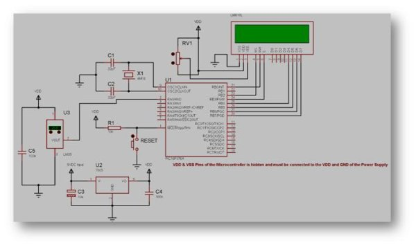 Interfacing Temperature Sensor with Microchip PIC16F876A Schematic