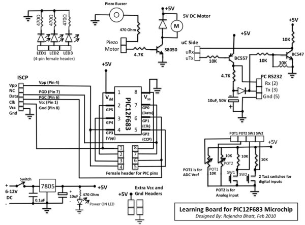 Learning Board for PIC12F683 Microchip schematic