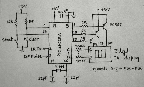 Microcontroller measures heart rate through fingertip Schematic