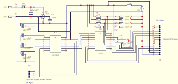 PIC 16C84 VT-52 Emulator for Linux Schematic