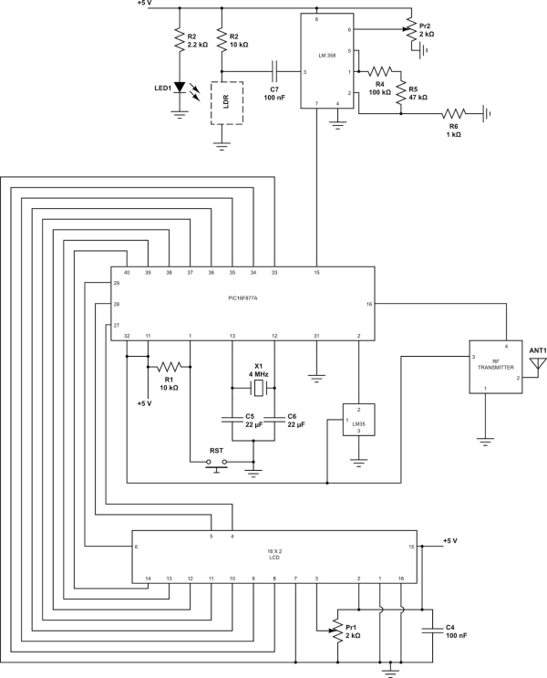 PIC based wireless temperature and heartbeat read-out Schematic