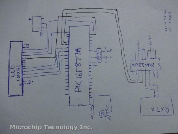 PIC16F877A (with LCD) not working schematic