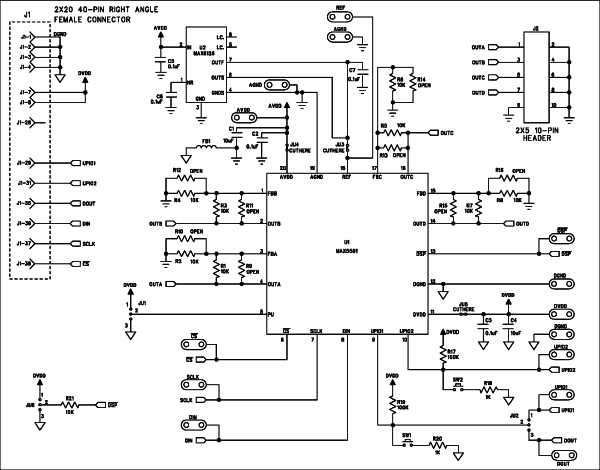 PIC'ing the MAX5581 Interfacing a PIC Microcontroller with the MAX5581 Fast-Settling DAC Schematic