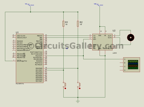 PWM DC Motor Speed Controller Circuit Using PIC16F877A Microcontroller Schematic