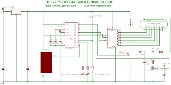 Single Tube nixie clock Microcontroller Project schematic