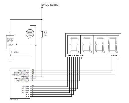 Temperature Indicator using PIC microcontroller Schematic