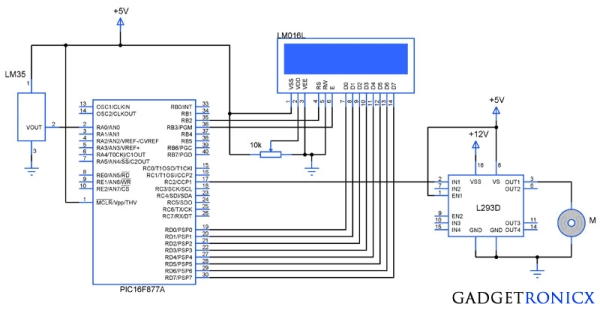 Temperature controlled fan using PIC 16F877A Schematic