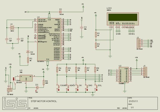 Unipolar Stepper Motor Control Circuit with PIC16F877 Schematic