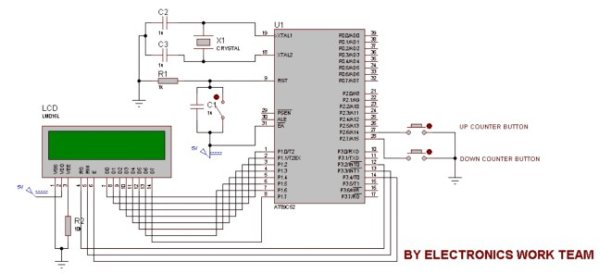 Up-Down counter on 162 LCD using 8051-Microcontroller schematic