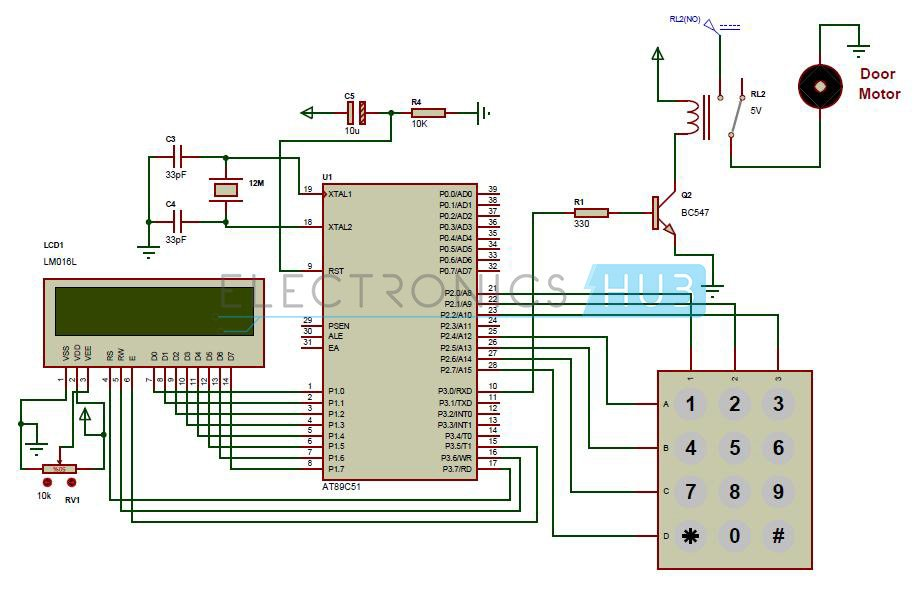 Password Based Door Lock System using 8051 Microcontroller schematic