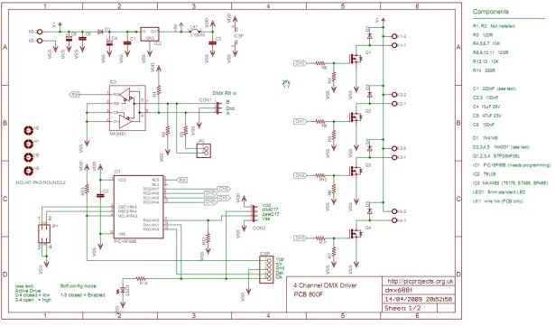 4 Channel DMX512 Driver for PIC16F688 schematic