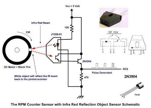 Contactless Digital Tachometer using PIC Microcontroller schematic