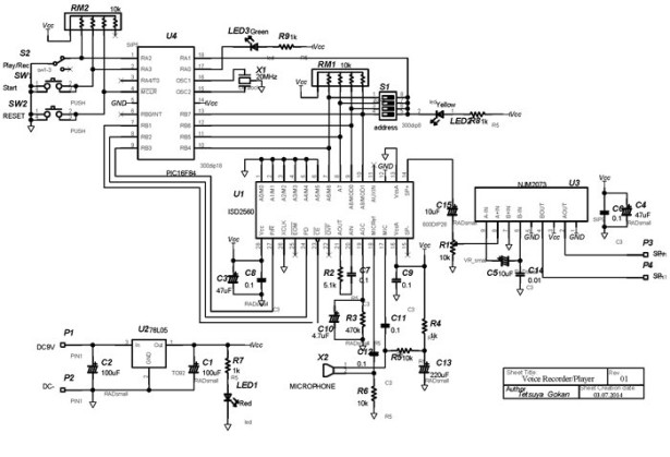 ISD2560 Voice Recording Playback Project PIC16F84 Controlled schematic