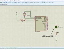 Microcontroller with single LED Project in Proteus