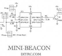 """Mini-Beacon"" miniature programmable LED Flasher that is based around a PIC12F629 microcontroller"
