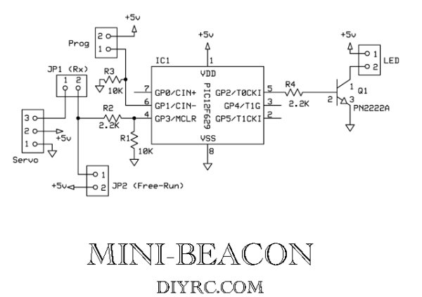 Mini-Beacon miniature programmable LED Flasher that is based around a PIC12F629 microcontroller schematich