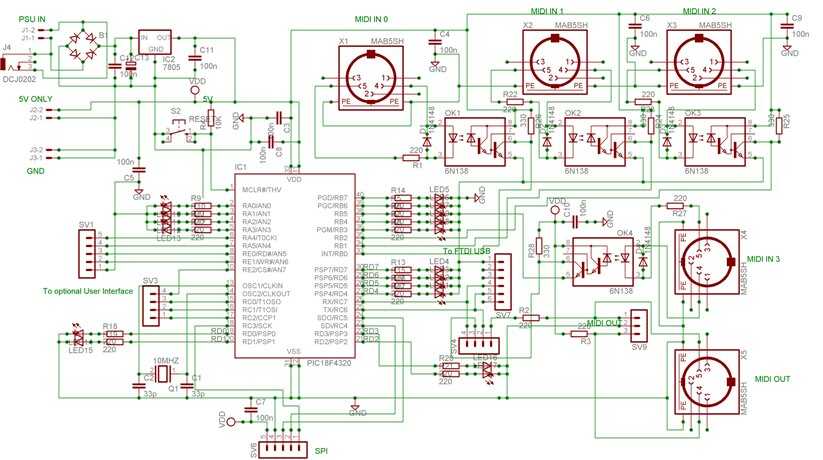 My New MIDI Merger uses 10 MIPS £1 00 PIC Microcontroller!