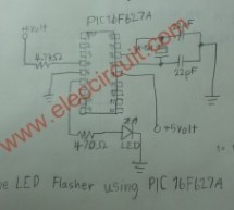 PIC microcontroller led flasher circuit using PIC16F627A