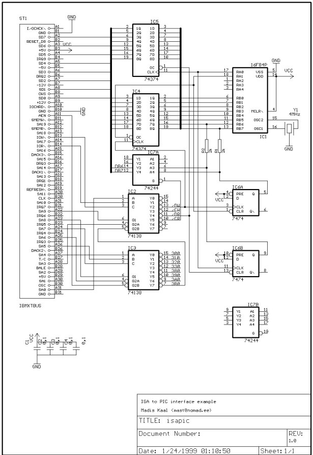 PIC16F877 ISA Ethernet Web Server Project schematic