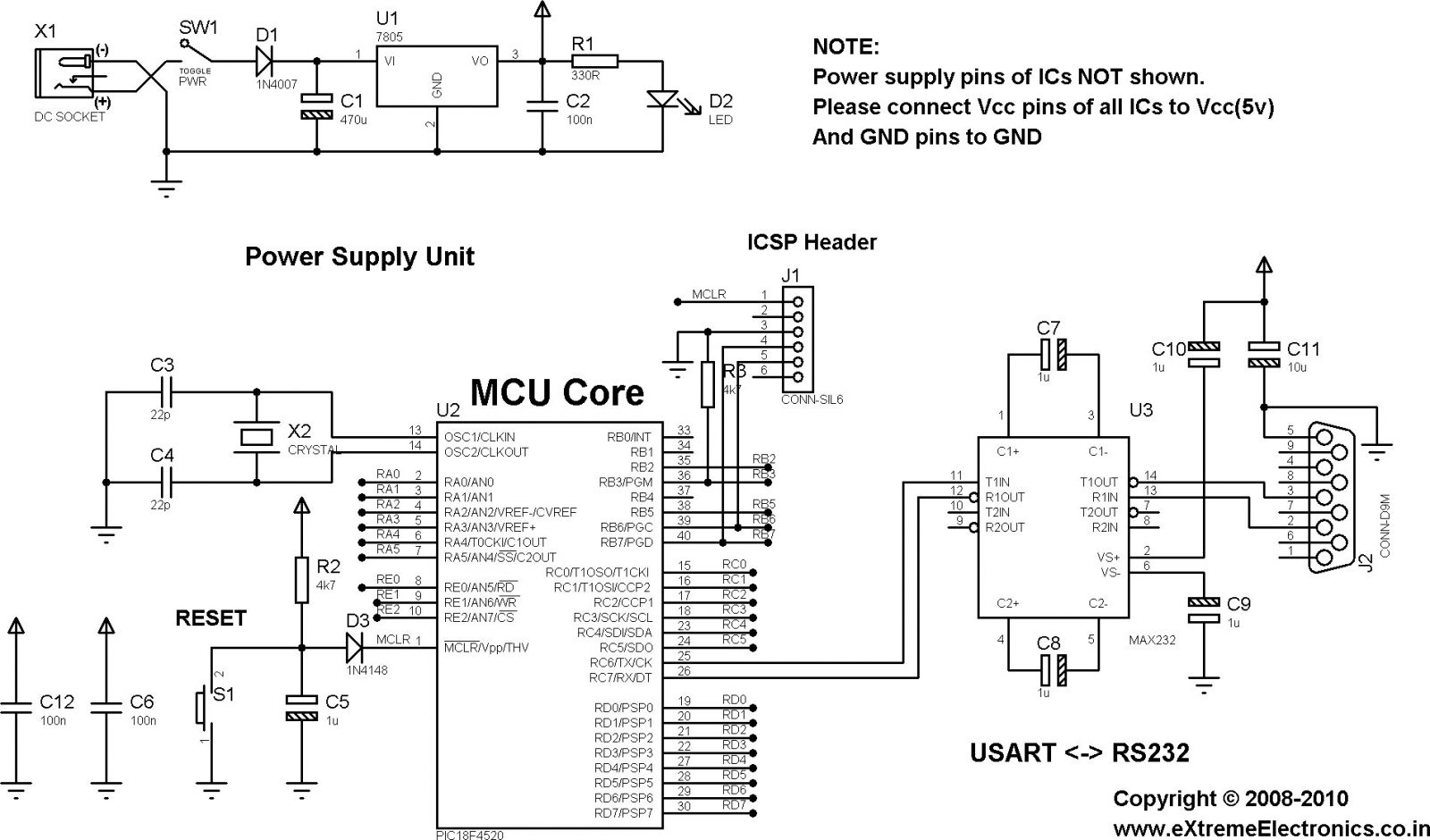 RS232 Communication using PIC18F4520's USART PIC Microcontroller Tutorial  schematich
