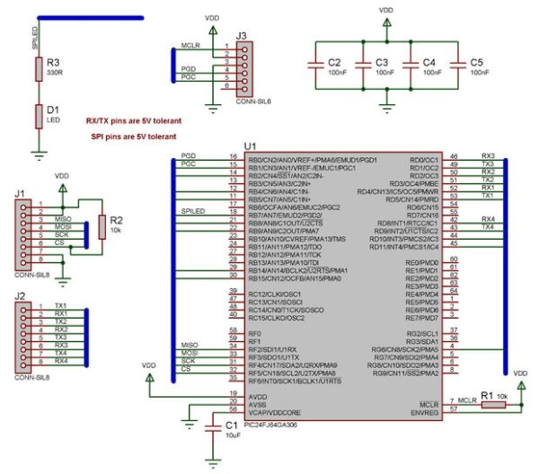 SPI to 4 x UART Bridge (MULTIUART) schematic