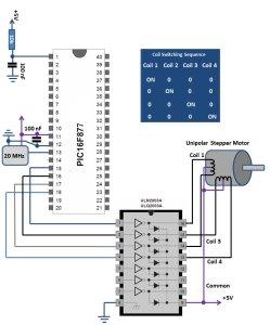 Stepper Motor Interface PIC16F schematich