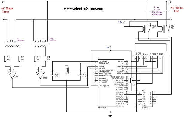 automatic power factor controller using microcontroller schematic