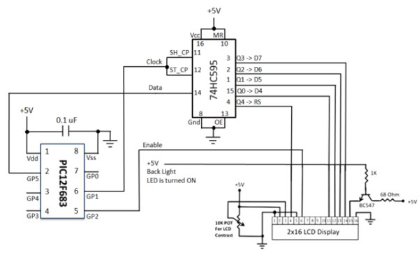 3-Wire Serial LCD using a Shift Register schematic