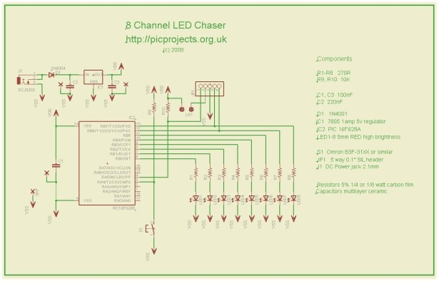 8 Channel PWM LED Chaser for 16F628A and 16F88 schematic