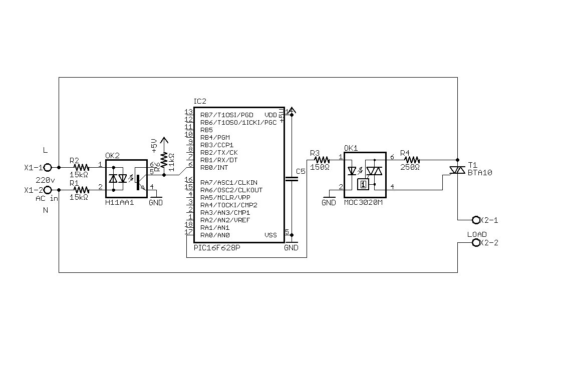 Control AC load with microcontroller schematic