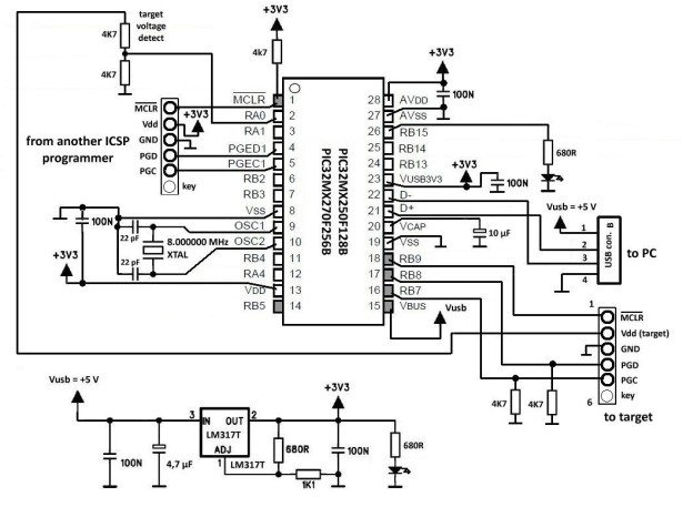 ICSP Programmer for PIC32 microcontroller family schematic